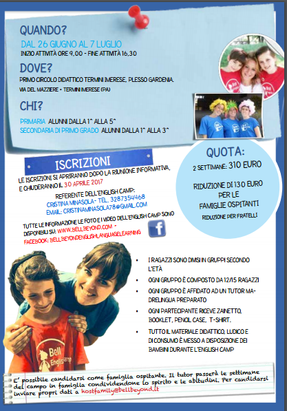 Iscrizioni English summer camp